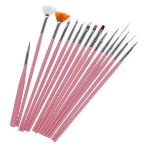 Набор кистей 15 шт для маникюра розовый